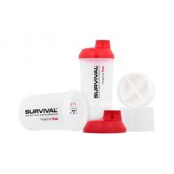 Šejkr Survival transparentní se zásobníky - červený (600 ml)